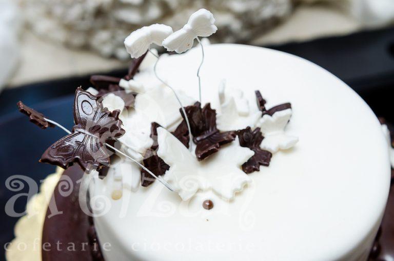 Tort cu fluturi de ciocolată 1