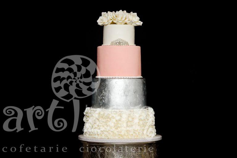 """Tort de Nunta """"Silver Pink"""" 1"""